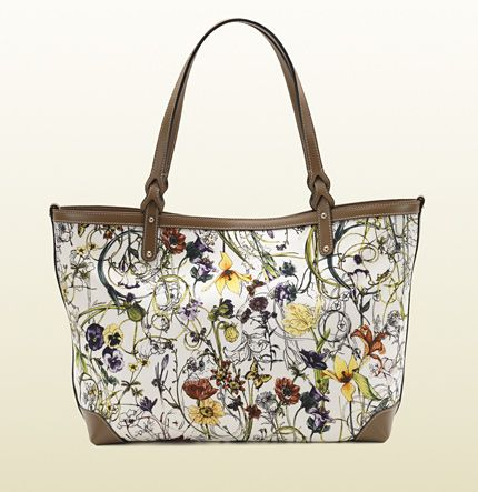 borsa shopping gucci craft in tessuto flora