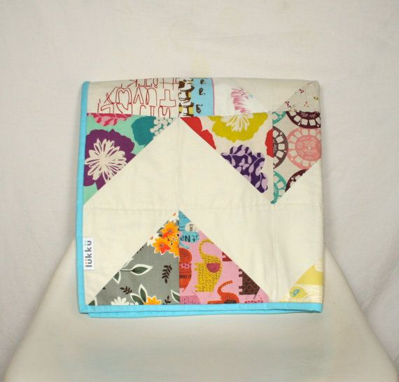 Baby quilt hand quilted with back in organic cotton by Lukku, $199.00