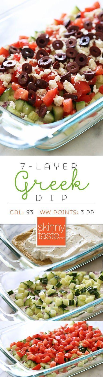 Entertainment ideas: Greek 7 Layer Dip – a healthy dip for backyard parties or summer potlucks!