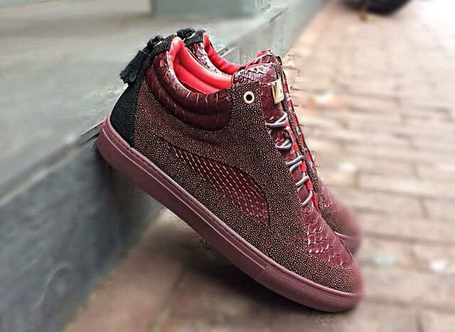 MASON GARMENTS BURGUNDY STINGRAY SNEAKERS | GRIS ...