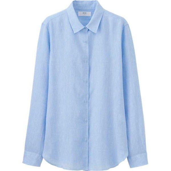 WOMEN Premium Linen Long Sleeve Shirt (715 RUB) ❤ liked on Polyvore featuring tops, long sleeve button up shirts, linen button down shirt, long sleeve shirts, shirt tops and blue linen shirt