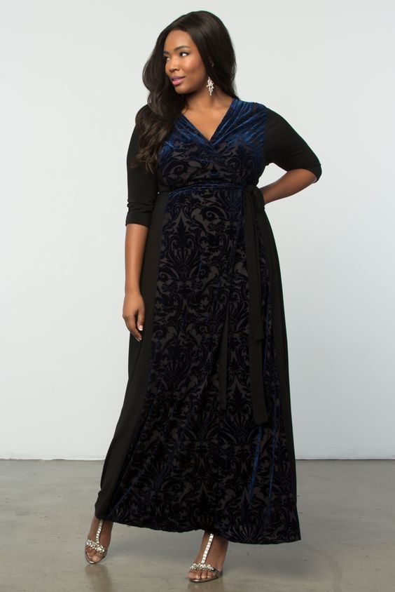 aa0774f1927 Here is the feminine and sophisticated Ornate Velvet maxi dress from  Kiyonna! (affiliate link. I amke a bit of money)