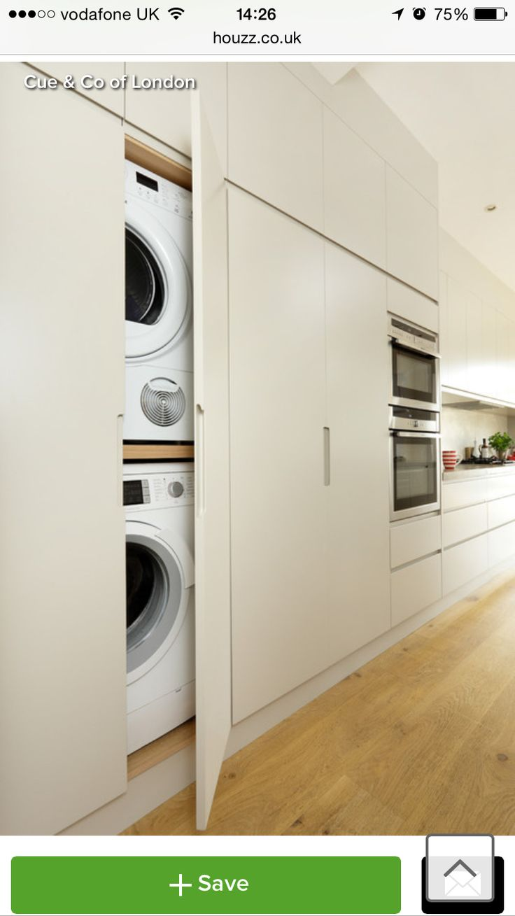 Hide Away Washing Machine In Cupboard Kitchen Laundry