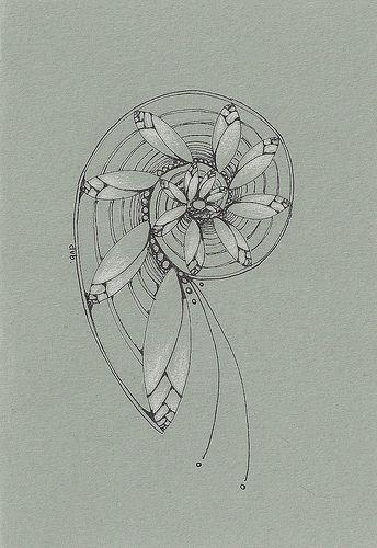 Magnolia Spiral   Deborah's Perspective via Flickr: micron pen and white pencil on grey cardstock
