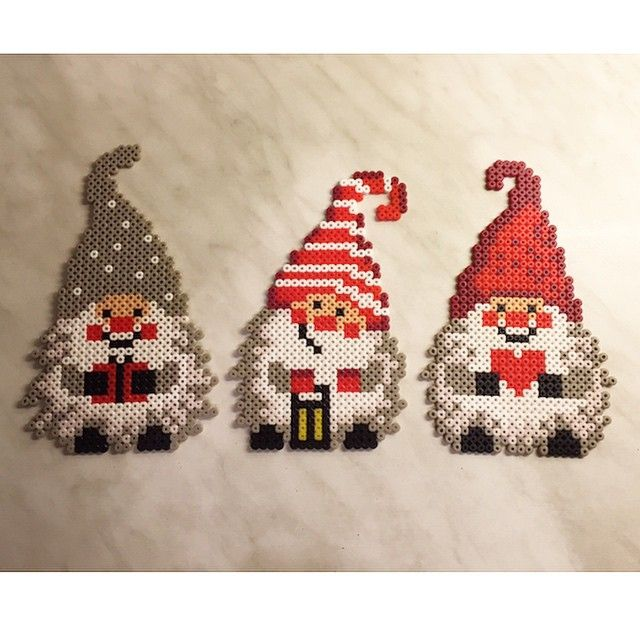 Christmas Gnomes - these are done with beads, but the patterns would work extremely well with cross stitch and make super Christmas ornaments. Repinned by www.mygrowingtraditions.com