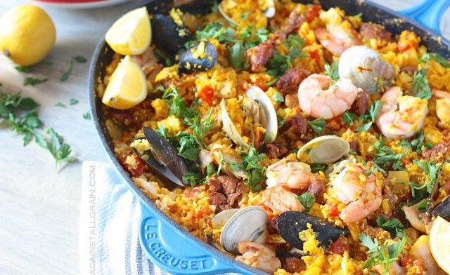 Wow.  Paleo Paella!  Uses cauliflower instead of rice, and looks amazing. #paleo #seafood #paella