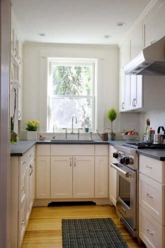 cozy kitchen: Traditional Kitchens, Paintings Cabinets, Kitchens Ideas, Small Kitchens Design, Small Spaces, Kitchens Layout, Galley Kitchens, White Cabinets, White Kitchens