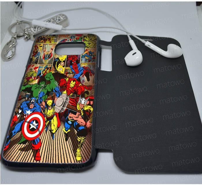 Marvel Leather Wallet Flip Samsung Galaxy S4,S5,S6 Edge,S7 Edge,S8,S8 Plus Case