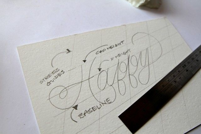 """Sketching in type - a step by step tutorial. Because you are """"drawing"""" in the stroke width it's helpful to look at examples of Calligraphy."""