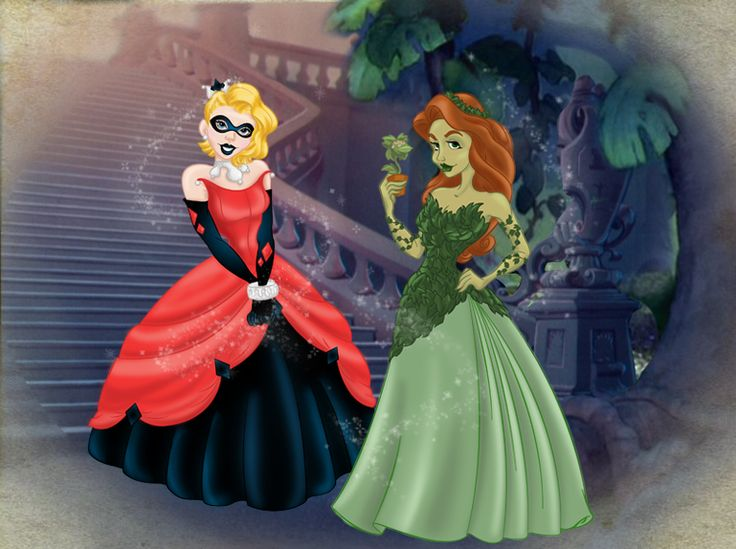 Harley Quinn and Poison Ivy as Disney princesses. <3