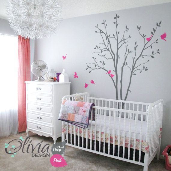 Baby Nursery Tree Wall Decal Large Color Wall Decals Wall Decor Wall Mural  Tree Shape Kids Room Wall Decoration Pink Birds Sticker   NT026