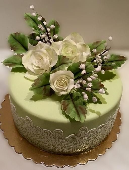 Roses and Lace all hand made roses, lily of the valley and greenery. - Cake by Caracarla