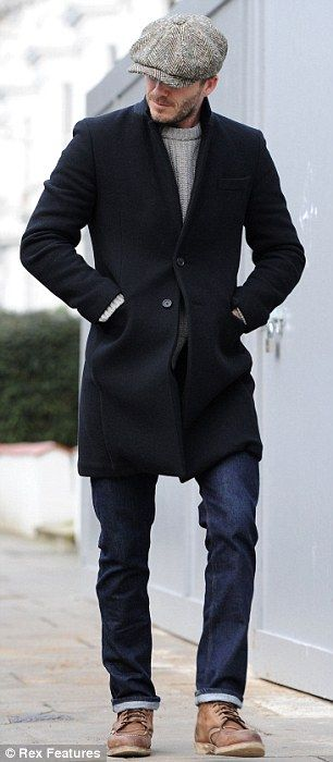David Beckham wearing a tweed Baker Boy. Very stylish man.