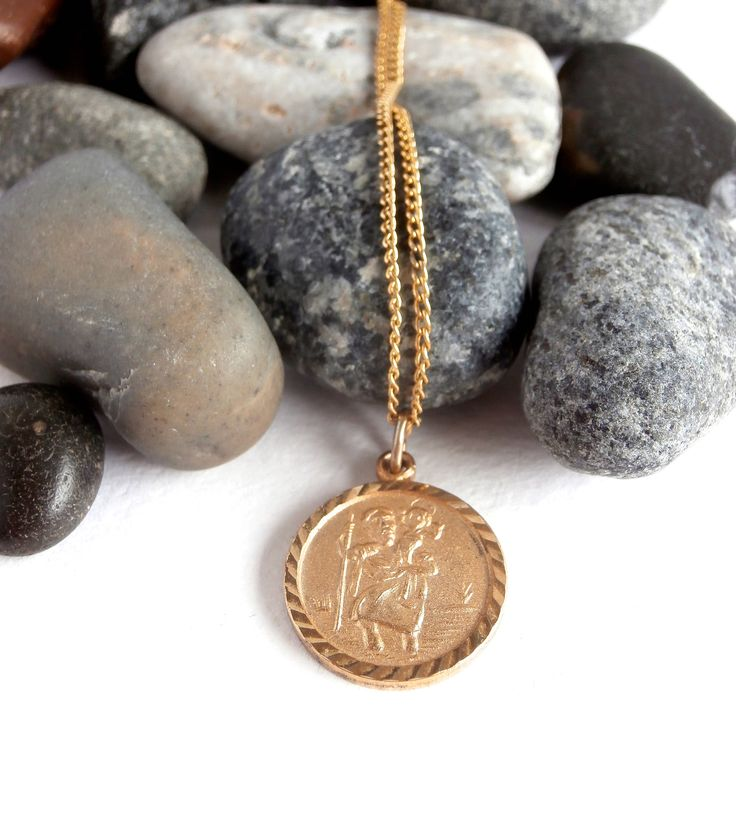 St Christopher Necklace - Vintage Jewellery - Gold Tone Necklace by ReTainReUse on Etsy