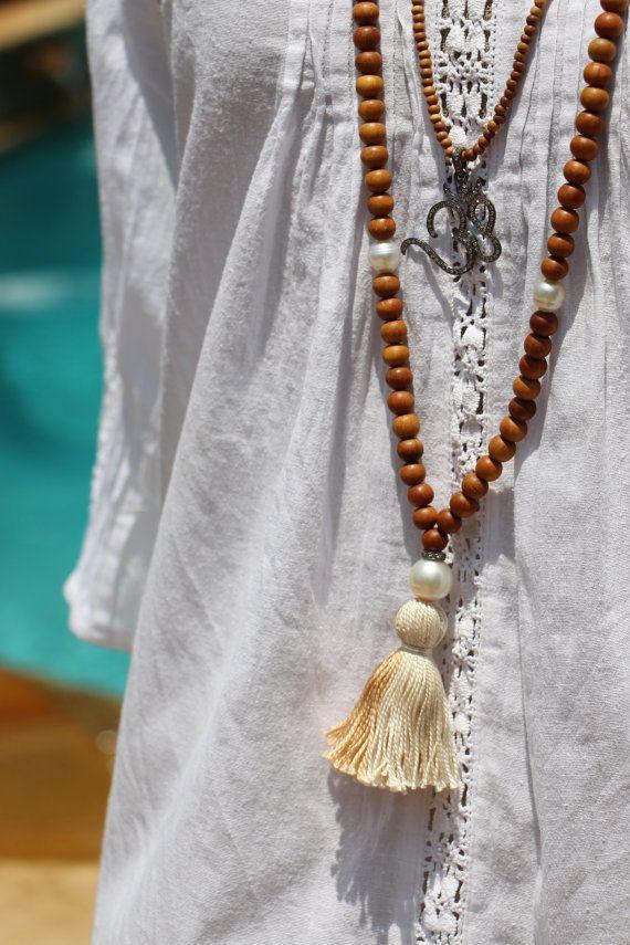 Sandalwood Pearl Tassel Mala, Cream Tassel on Long Sandalwood Necklace, South Sea Pearls and Pave Diamonds, Celebrity Style Yoga Boho Chic