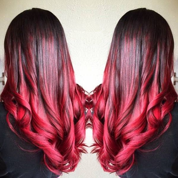 Bright red ombre hair color for black hair with nice waves