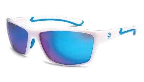 Athletique - White + Blue Frame // Smoke Blue Mirror Polarized Lens