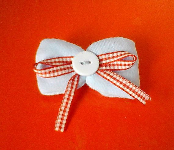 brooch-bow  from sweet babyblue cotton fabric