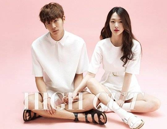 """f(x)'s Sulli Releases Couple's Photoshoot with Model Lee Chul Woo for """"High Cut"""" 