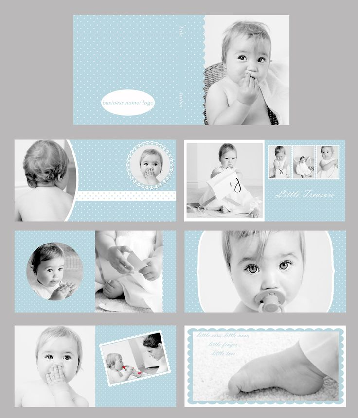 Baby Blue Photo album/ Photo book template set (10x10, can be resized to any square dimensions). $24.99, via Etsy.