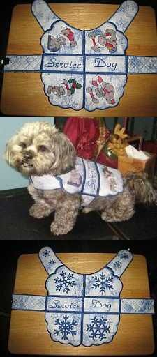 Handmade reversible coat for a service dog with a winter theme