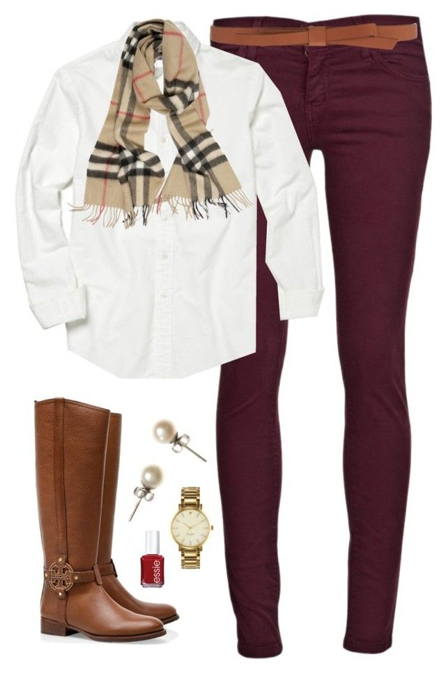 Classic Cute by classically-preppy on Polyvore featuring Polo Ralph Lauren, Current/Elliott, Tory Burch, J.Crew, Burberry, Ganni, Essie and Kate Spade