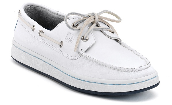 White Sperrys Topsiders boat shoes