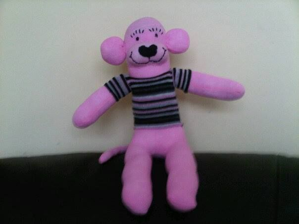 Pink monkey with t-shirt