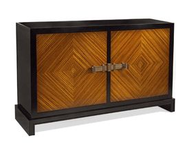 "Limited Production Design: 58"" Black Glass Zebrano Diamond Cabinet * Only Few Remaining"