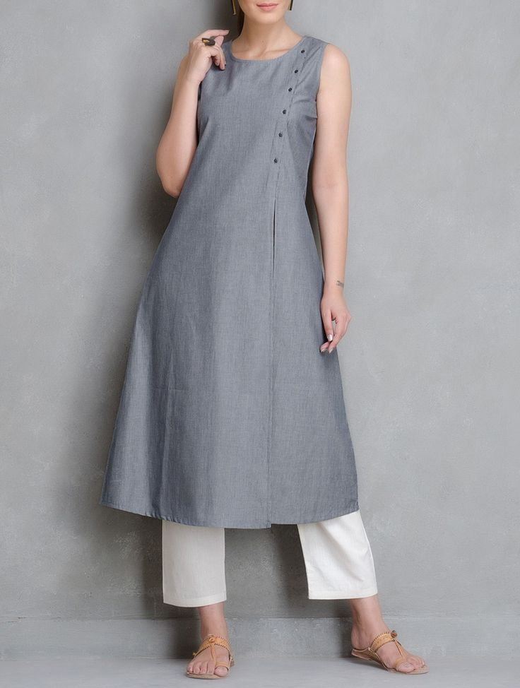 Buy Blue Stripe Button Down Cotton Kurta Women Kurtas Woman Divine Contemporary and Tunics Online at Jaypore.com