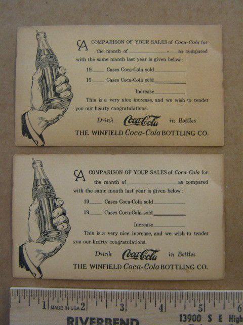 2 old Unused vintage Coca Cola 1 cent postcard Winfield bottling company  | eBay