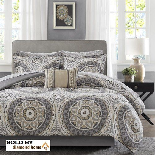 Complete 9-piece Bed in a Bag with Sheet Set. Reversible Medallion Print  Neutral