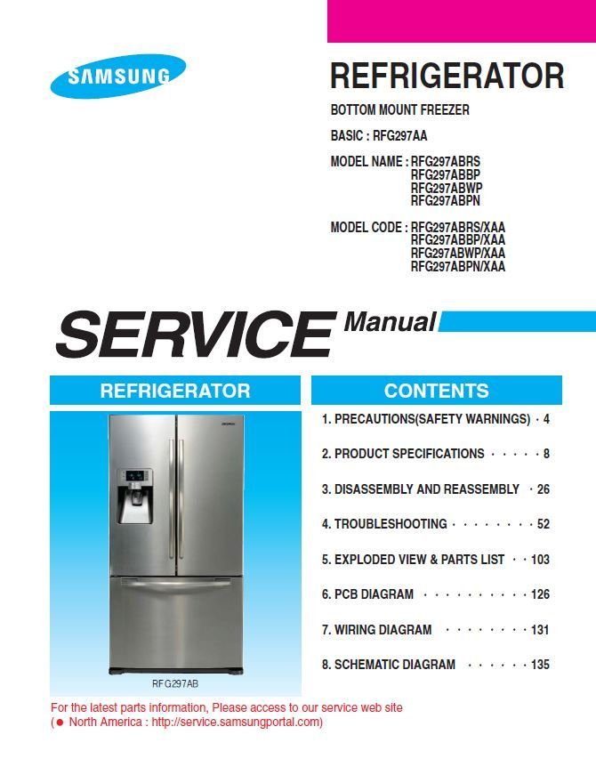 Samsung Rfg297abpn Refrigerator Original Service Repair Manual