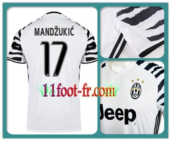 2016-17 Maillot de La Juve MANDZUKIC 17 Third Manche Courte Blanc et Noir