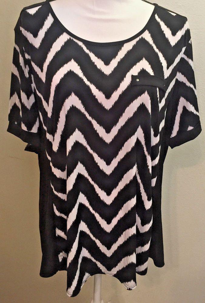 Claudia Richard Women's Blouse Plus Size 2X Black / White Chevron Shirt Top  #ClaudiaRichard #Blouse #Any