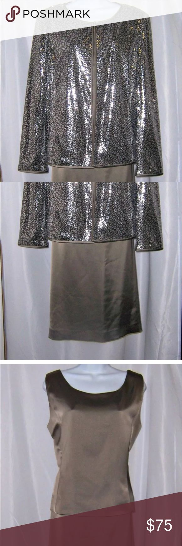 Three piece evening/formal skirt suit set It's absolutely gorgeous! Pictures do not do it justice. The skirt and top are a beautiful shade of taupe and the jacket is sequins. Kasper Dresses Midi