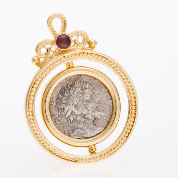 14K Yellow Gold Pendant, Alexander Coin Pendant with Garnet, Unique Jewelry