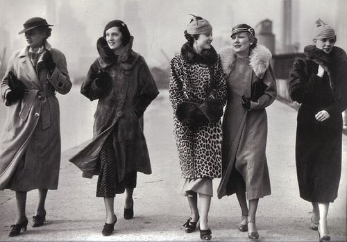 1930's street fashion, coats, hats!