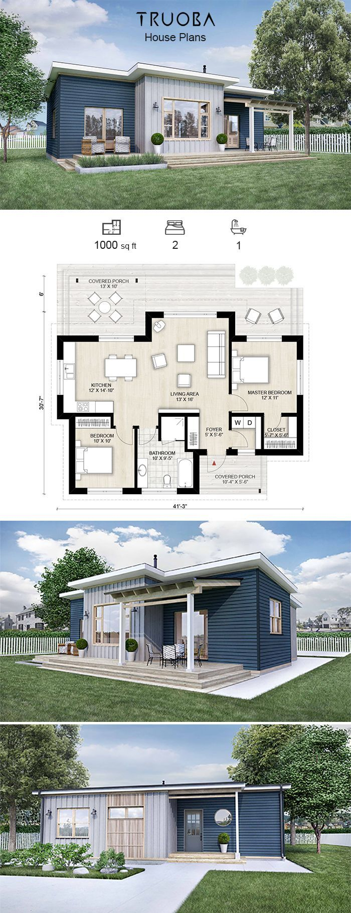 Truoba Mini 118 House Plan 1000 Sq Ft 2 Bedrooms 1 Bathrooms 2bedroomtinyhomes Sims House Plans House Layouts Tiny House Plans