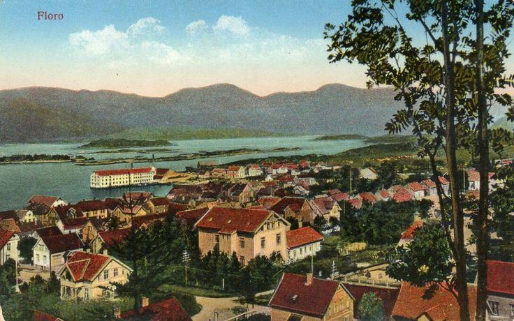 Sogn og Fjordane fylke Flora kommune Florø. Kolorert kort Utg Mittet ca 1900