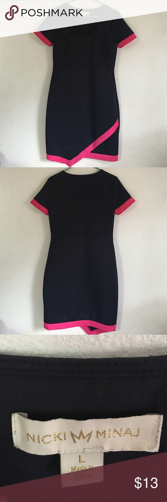 """Gorgeous dress by Nicki Minaj Deep blue color, look like black with fuchsia trim. Sexy dress that gives you curves no matter what body type you have. Purchase here at posh but sadly I'm 4'11"""", too short for this dress. More likely for 5 feet and up. When I tried it on my curve stands out more and I love it! Too bad too long for me😔. Dresses Midi"""