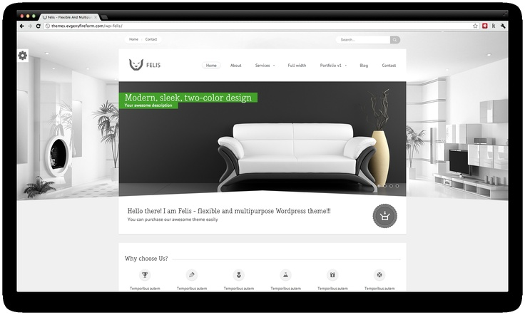 Felis is a modern Premium Wordpress Theme. Each element in this theme is thought to communicate clearly. It's a good solution for photography, commercial business or small informational websites.