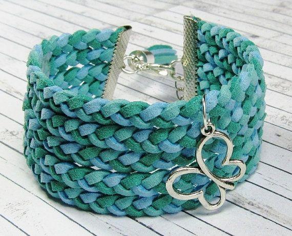 Suède armband met teal armband brede armband door DesignPorcupineArt