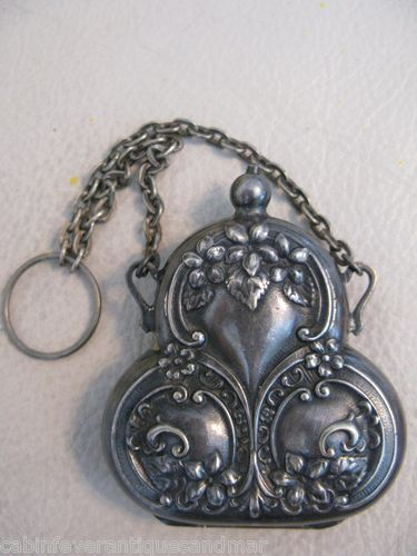 (This is one of my favorite pieces, I just love it! JVB) Antique Art Nouveau Victorian German Silver Chatelaine Coin Holder Compact Purse