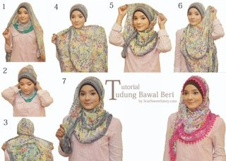 Nice and simply hijab scarf style that would appear to work with any long rectangle or pashmina style scarf.