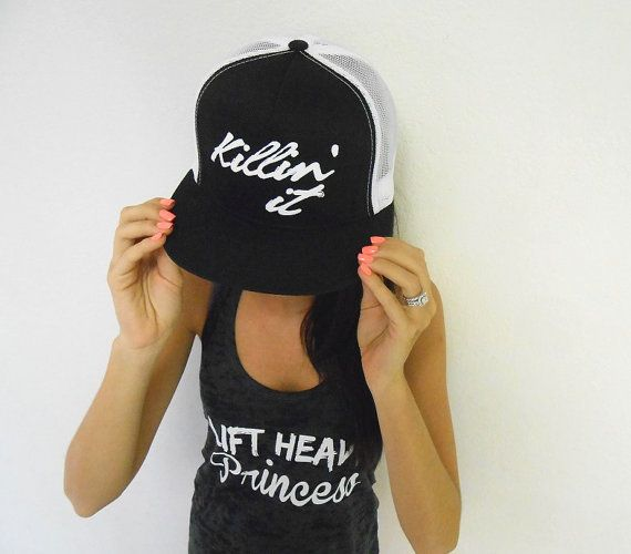Killin It Trucker Hat. Welcome to Strong Girl Clothing™ Shop! This listing is for one flat bill snapback (adjustable back) hat that says