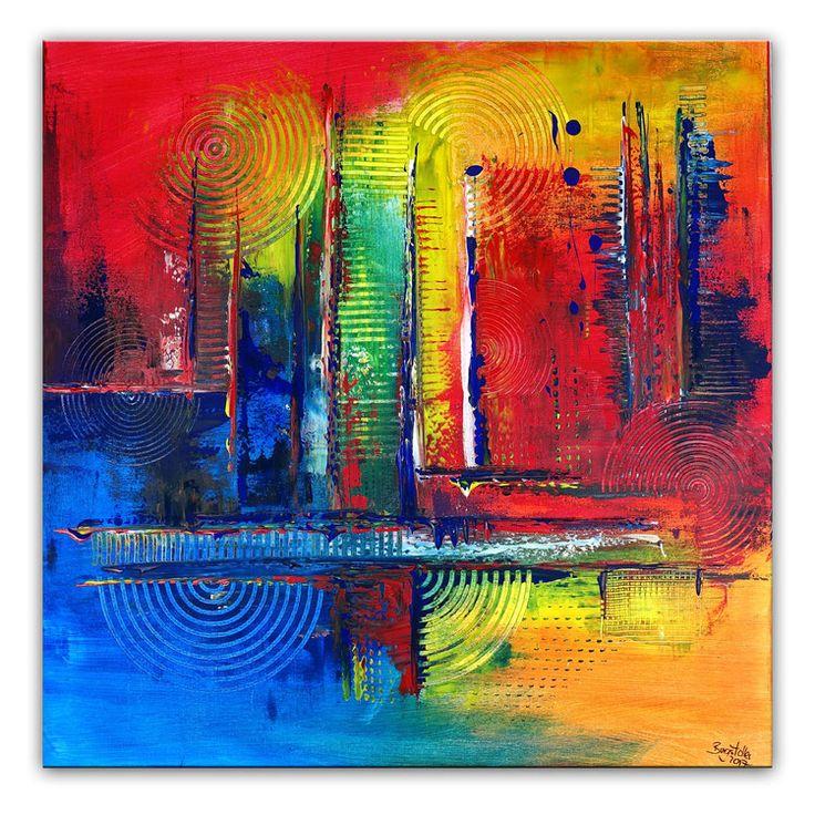 Kamin - Blau rot gelb 80x80 Malerei Bild Kunst abstrakt