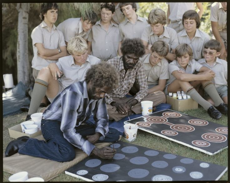 216429PD: Aboriginal artist with children, 1980.  http://encore.slwa.wa.gov.au/iii/encore/record/C__Rb2437814__SArtists%20--%20Western%20Australia%20--%20Photographs.__P1%2C48__Orightresult__X1?lang=eng&suite=def