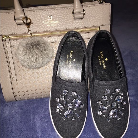 "Kate spade jeweled slip ons Kate spate gray ""slater"" slip ons with jewel accents. Brand new with out tags, will come with original box. No trades. kate spade Shoes Sneakers"