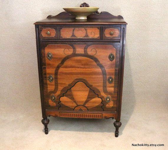 Art Deco Dresser, 1920s Wood Bureau, Antique Bedroom